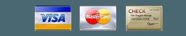 Visa & Mastercard credit cards or check