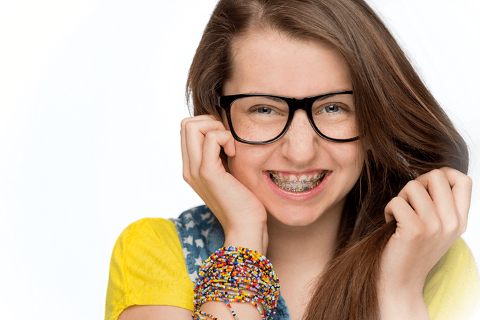 Teenage girl with new braces