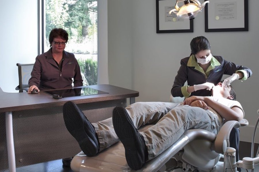 Teenager boy on his first orthodontist visit