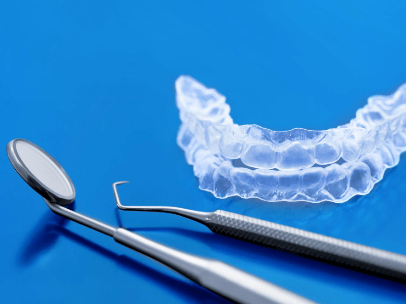 Invisalign teeth brackets with upper and lower tooth aligners